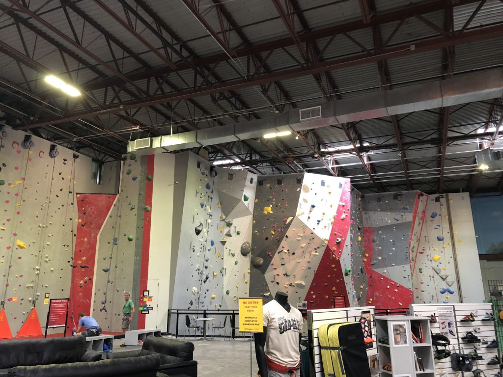 Picture of rock climbing gym